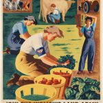vintage poster depicting women working on farms